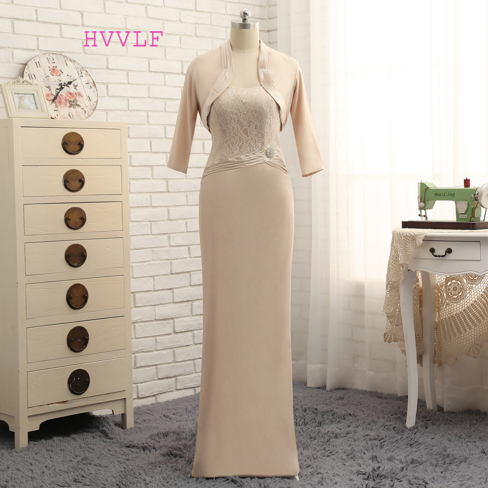 Plus Size 2019 Mother Of The Bride Dresses Sheath Floor Length Lace With Jacket Wedding Party Dress Mother Dresses For Wedding
