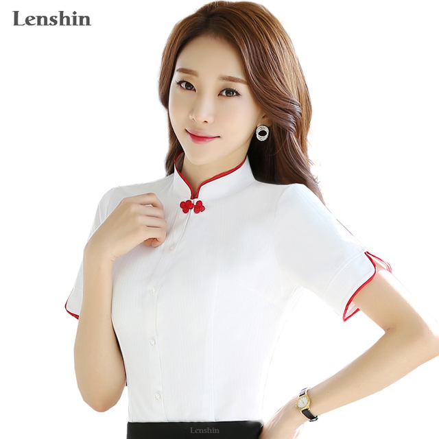 bfba3b03ba1 Chinese Women Blouses Shirt Female Short Sleeve Mandarin Collar White  Blouse Tops Office Lady Plus Size