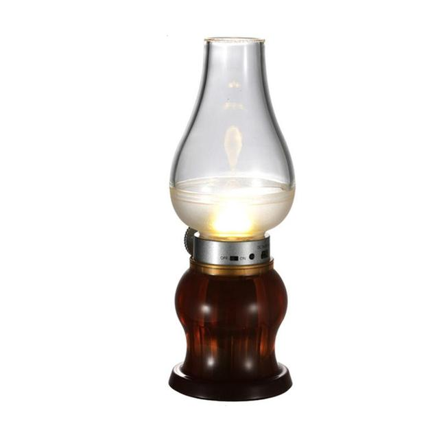 Decorative rechargeable flameless candle lantern kerosene lamp decorative rechargeable flameless candle lantern kerosene lamp vintage oil table lamp with blow onoff mozeypictures Image collections