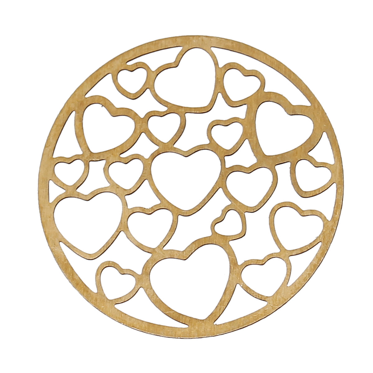 DoreenBeads Copper Embellishments Findings Round Brass Tone Hollow Heart Pattern Blank 22mm(7/8)Dia,50 PCs