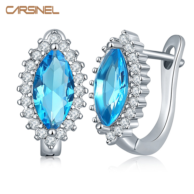 CARSINEL Trendy Silver color Hoop Earrings with Colorful Oval Shape AAA Zircon Jewelry Earrings For Women Jewelry Gift ER0272
