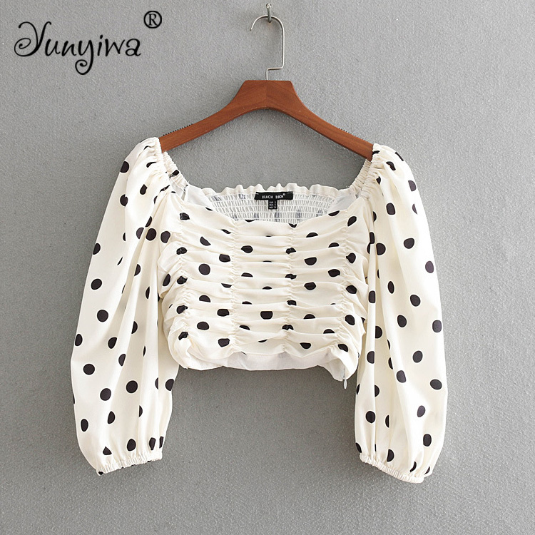 Yuuyiwa Women   Blouses     Shirts   Women's new wholesale dot print long-sleeved   shirt   Tops Blusas Mujer De