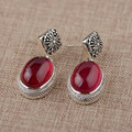 Synthetic Ruby Earring 925 Silver Women Vintage Cross Red Corundum S925 Thai Sterling Silver boucle d'oreille Drop Earrings