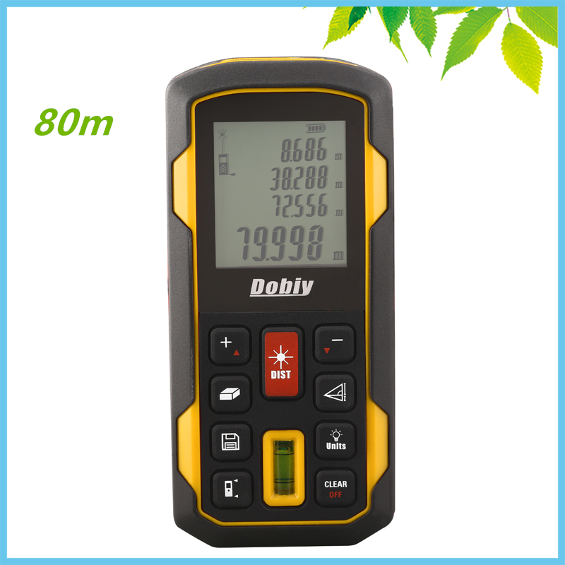 80m LCD Digital Laser Distance Meter Pythagoras Level Bubble Range Finder Tape Measure Area Volume Distance Tester Tool FT Inch free delivery level 24 in lightweight hard plastic 3 bubble triple ruler measure tool