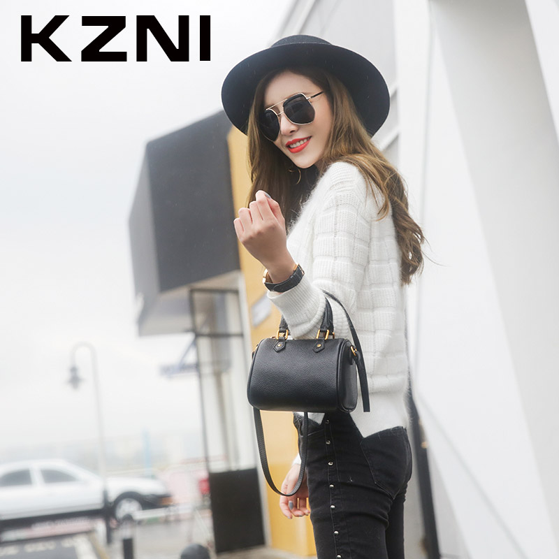 KZNI Genuine Leather Crossbody Shoulder Clutch Women Bag Top-handle Tote Bags for Girls Fashion Small Black 1386 fashion pu leather metal handle circular bag small round package shoulder bag girls crossbody tote messenger bags