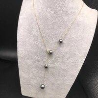 Sinya Мода 18 К золото AU750 цепи ожерелье с 8 9 мм природный жемчуг Таити в стиль дизайна колье для женщин девочек lover мама