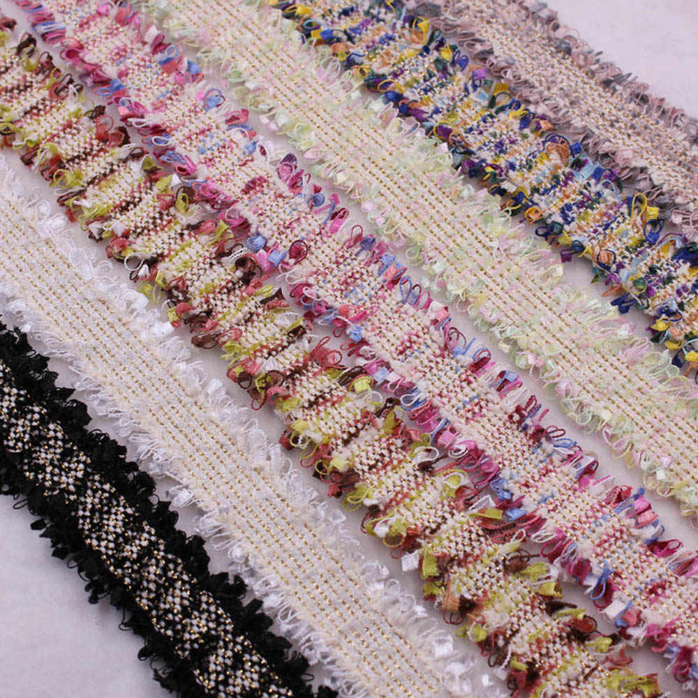 1 Yard Pearl Beaded Embroidered Tassels Lace Vintage Gold Trim Ribbon Fabric Handmade DIY Costume Dress Sewing Supplies Craft