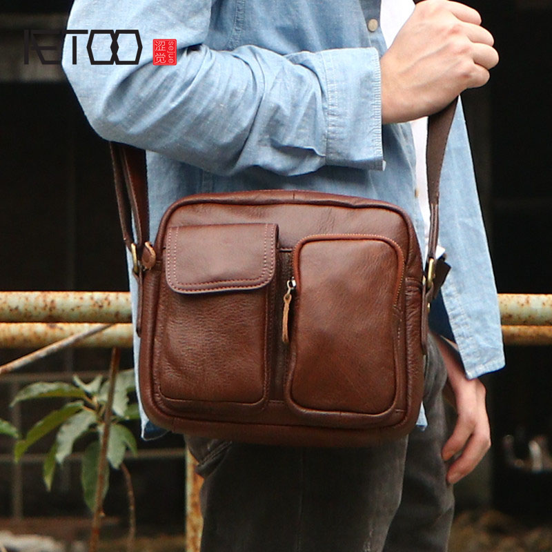 AETOO The first layer of leather Messenger bag leather male leather skin shoulder bag Japanese large capacity handbag aetoo leather men bag new retro first layer of leather handbag large capacity vegetable tanned leather shoulder bag