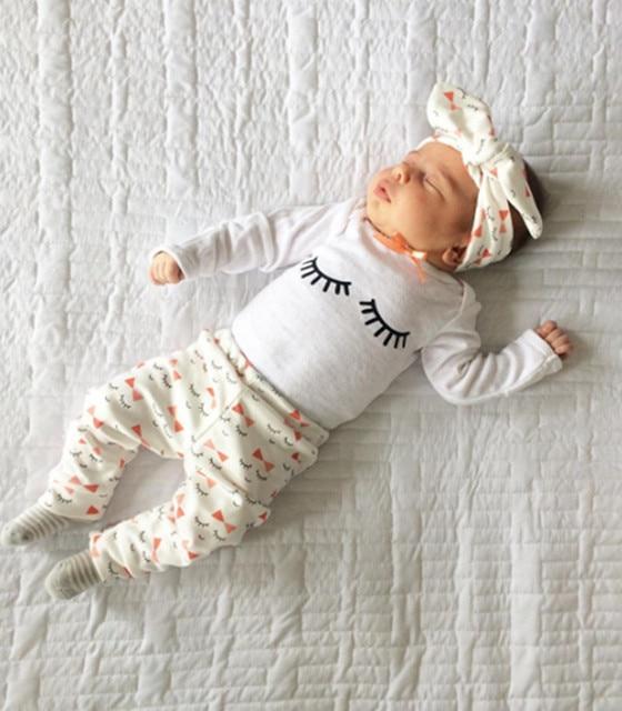 e31835f578bc 3pcs set Newborn Baby Girl Clothes casual Long Sleeve T-shirt+Floral Pants  Leggings+Headband Outfits set baby girl clothing sets