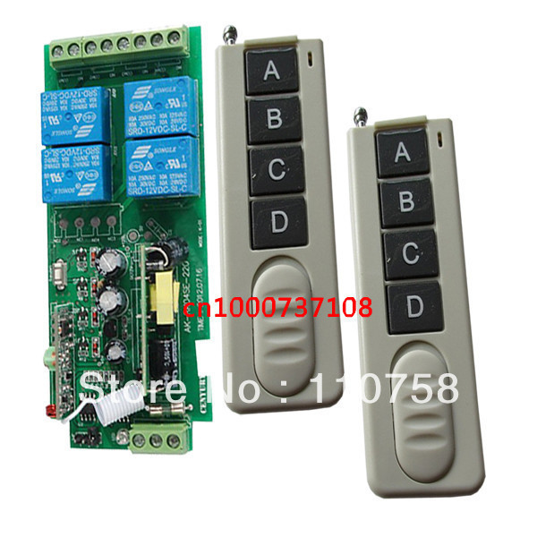 85V-250V Wide Range Output 315/433MHZ 4CH RF Wireless Remote Control System 220V. Remote Power SwitchON/OFF 4 remote control ac85v 250v wide range output rf wireless remote control system 3 receivers transmitter high power remote for smart home control
