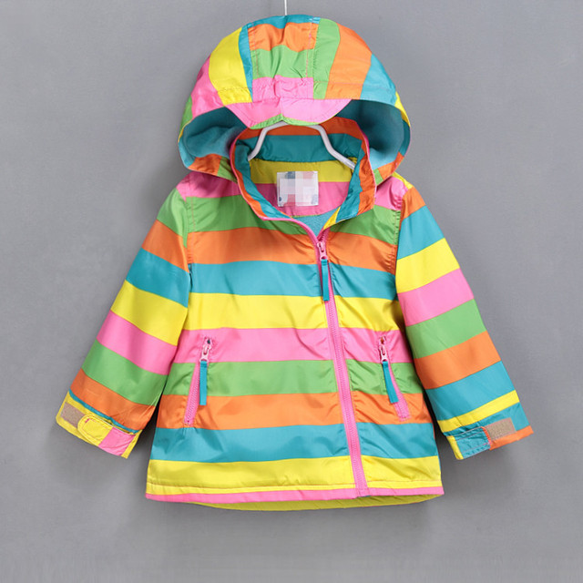 Kids/children/girls colorful striped & rainbow windproof/waterproof trench,autumn winter jacket w fleece lining, size 90 to 140