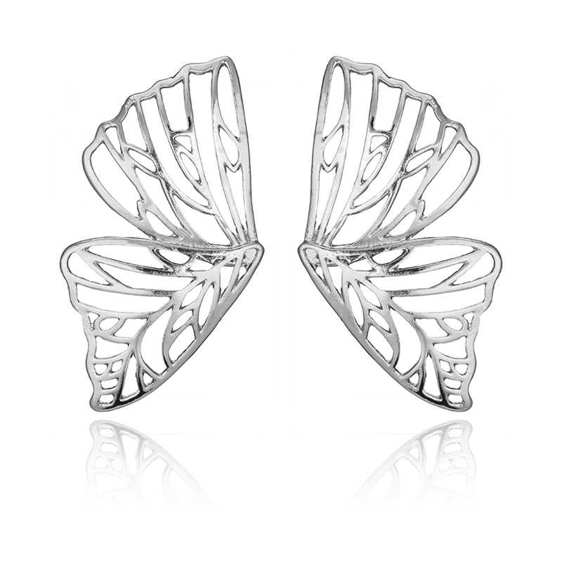Docona Gold Silver Hollow Butterfly Drop Dangle ต่างหูสำหรับผู้หญิงโลหะจี้ต่างหูเครื่องประดับ brincos 6218