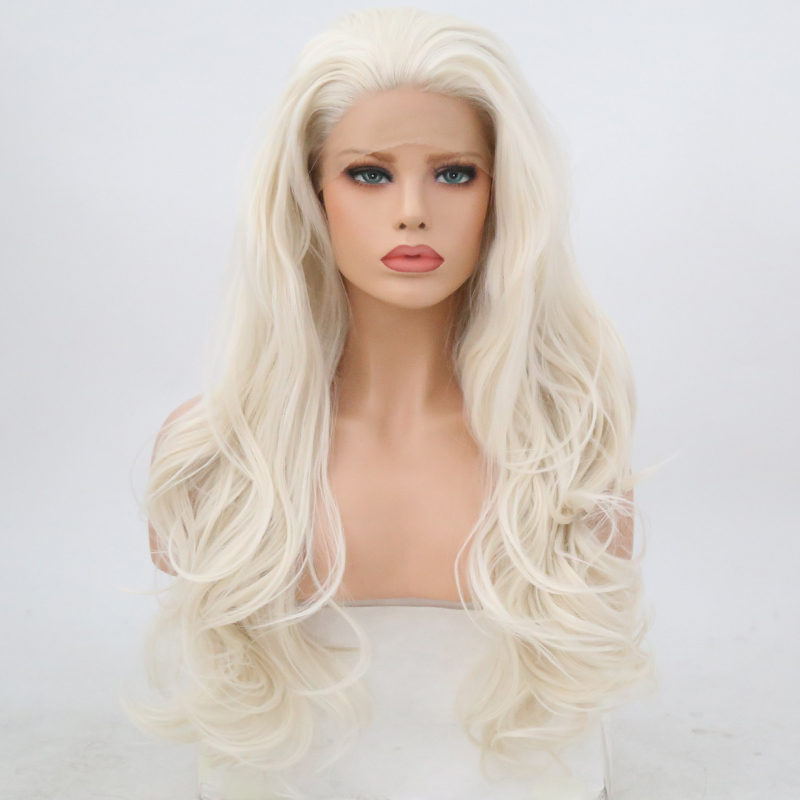 Charisma Free Part Natural Long Body Wave Platinum Blonde High Temperature Hair Synthetic Lace Front Wig For Women Lace Wigs