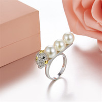 Fits Ring Monaco Jewelry with Charm Feminine Jewelry Party Gift 925 Micro Inlaid Zircon Sterling Silver Pearl Chick Ring