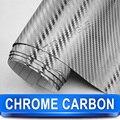 Chrome Silver Carbon Fiber Abrigo Del Vinilo Auto Adhesivo de Cine/Tamaño de 1.52x30 Metros/ENVÍO LIBRE de La Nueva Llegada