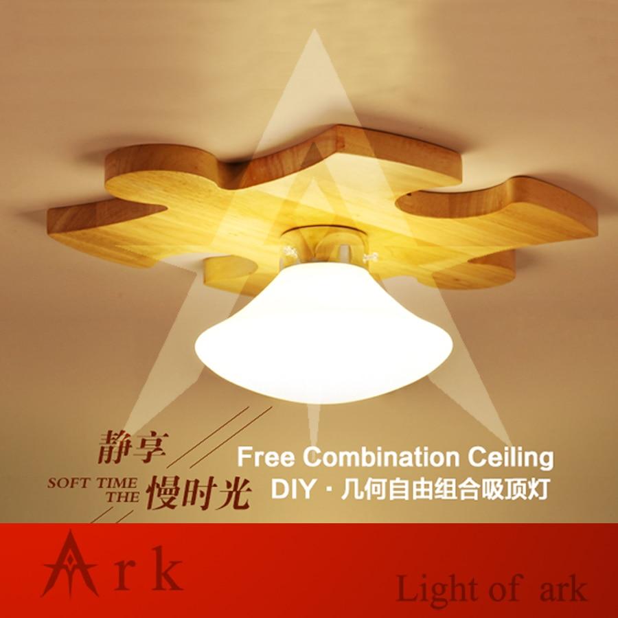 ark light 1PCS DIY puzzle ARRAY wood building block led Ceiling Lamp For Living Room Bedroom Balcony LOBBY,aisle,hall