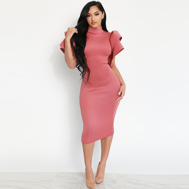 Summer 2018 Women Sexy Backless Butterfly Sleeve Party Dress Elegant Hip  Wrapped Midi Dress Turtleneck Pencil Bodycon Dress 718ff65a7