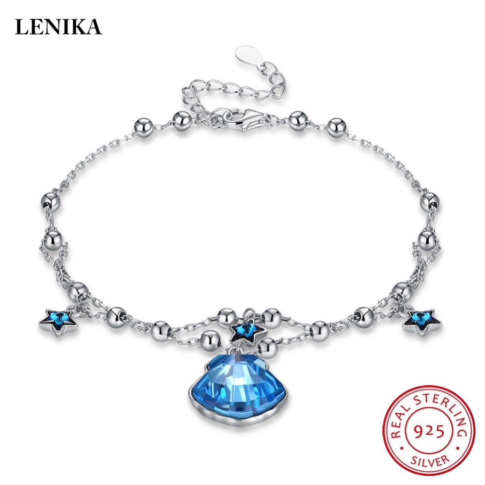 LEKANI Charm Bracelet For Women Blue Star Crystals From Swarovski Shell Bracelet Genuine S925 Silver pulseira feminina