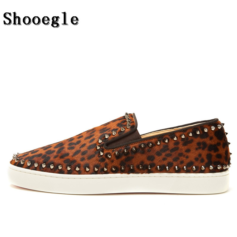 SHOOEGLE Spring Summer Leopard Studs Men Flats Casual Shoes Handmade High Quality Loafers Men