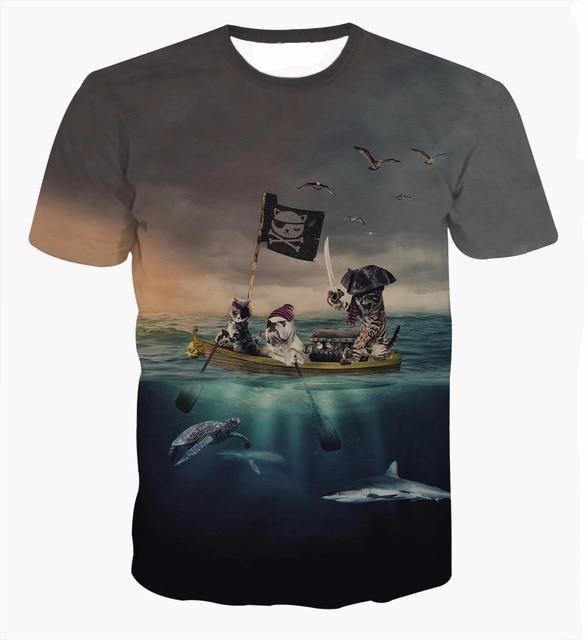 Newest Harajuku Tee shirts Pirates of the Caribbean Cat t shirts Funny Animal 3D t shirt Men Women Summer Hipster tees tops