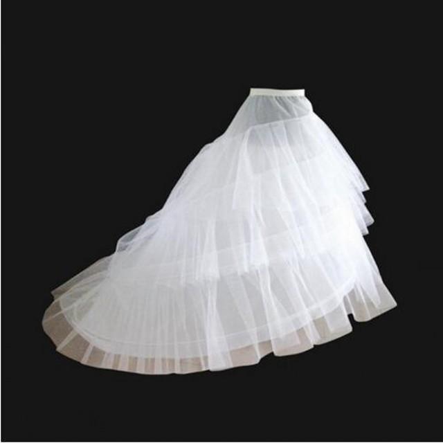Branco De Alta Baixo Petticoat Para Vestidos de Casamento Da Cauda Longa de Dois Fios Acessórios Do Casamento Nupcial Anáguas Crinolina Três Camadas