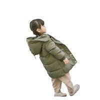 Eropean חורף בנות ילדי מעיל עבה חם צבא ירוק ברווז לבן למטה מעילים לילדים סתיו 2017 ילדי מעיל ארוך
