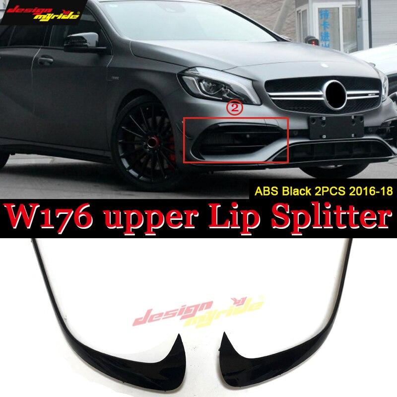 W176 Front Bumper Upper Lip Splitters 2 PCS ABS black Fits For MercedesMB A Class A180