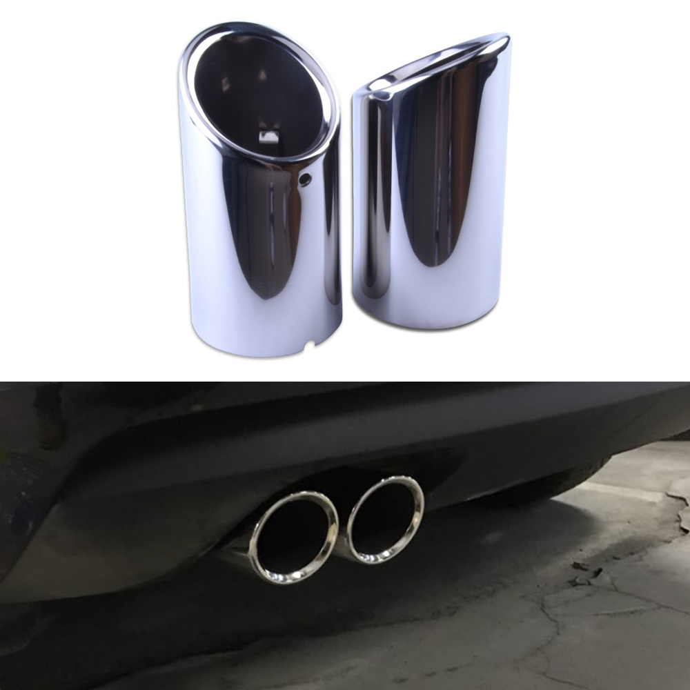 evil energy 1pair Stainless Steel Exhaust Tip Pipe Tip Muffler Car Styling Modified Car Tail For Audi Q5 A1 A3 A4 B8 Beetle