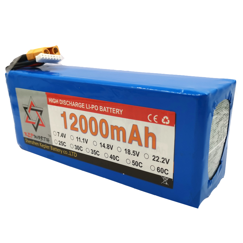 6S 22.2V RC <font><b>Lipo</b></font> Battery <font><b>12000mAh</b></font> 25C High Capacity For Helicopter Drone Plane Car Toy RC Li-Po Battery High Power image