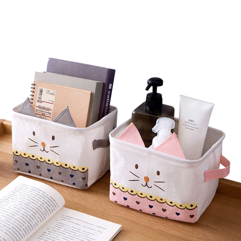 XZJJA Lovely Cartoon Desktop Storage Basket Portable Cosmetics Toy Sundries Organization Container Foldable Dresser Organizer