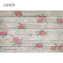 Laeacco Wood Board Flower Photo Background Birthday Photocall Baby Shower Food Cake Photography Backdrops Fond
