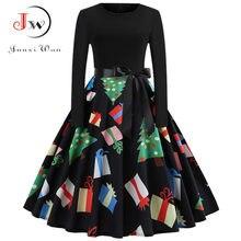 9575b1b6b9d93d Vintage Jurk Vrouwen Lange Mouw Gedrukt Kerst Jurken Elegante Zwarte  Patchwork Sexy Swing Party Dress Plus Size Vestidos