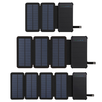 Solar Panel Charger Mobile Power 10000mAh Mobile Phone Battery Dual USB Port Outdoor Portable Folding Waterproof Power Supply 6