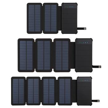 Panel słoneczny ładowarka mobilna moc wodoodporny zasilacz podwójny port USB 10000mAh bateria telefonu komórkowego na zewnątrz przenośne składane tanie i dobre opinie YPAY Ogniwa słoneczne Monokryształów krzemu Solar mobile power supply 9001-10000mAh
