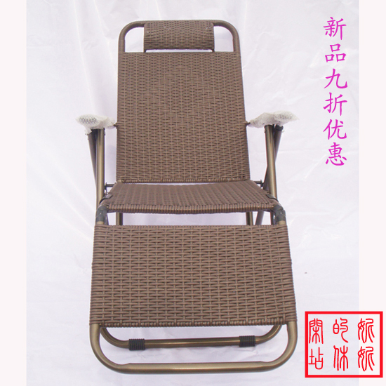 Double Sided Piece Lounge Chair Rattan Chair Backrest Recliner Siesta  Continental Thickened Metal Folding Chair