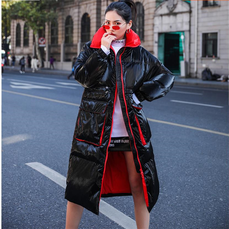 Autumn Women Duck Down Coat Winter Fashion Long  Down Jacket Women Hooded Thick Warm Outerwear Student Loose Ladies Coats Parka