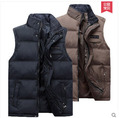 2015 Men Winter Spring Cotton Padded Vest Plus Size Stand Collar Casual Xl/4Xl Waistcoat  For Mens Warm Sleeveless Jacket J91