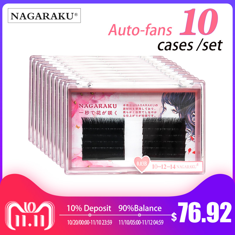 11ab2364221 Aliexpress.com : Buy 10 case/ set NAGARAKU Eyelash Extensions Auto fans  eyelash Easy to fan lash 0.03mm Mixed Length Mink Eyelash Russian Volume  from ...