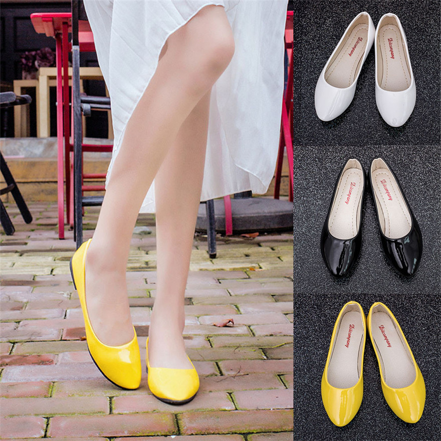 Women Lady Pointed Toe Leather Slip On Casual Loafers Shoes Pumps Women Shoes chaussure femme talon zapatos mujer цена