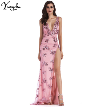 Sexy Deep V Neck Sequin Summer Dress women Evening Backless Luxury Night club Party Dresses Elegant Sling Long Maxi Dress 2020 4