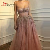New Arrival 2018 Amazing Dusty Pink Shinny Spaghetti Strap Glitter Vintage Arabic Formal Long Evening Prom Dresses Custom Made