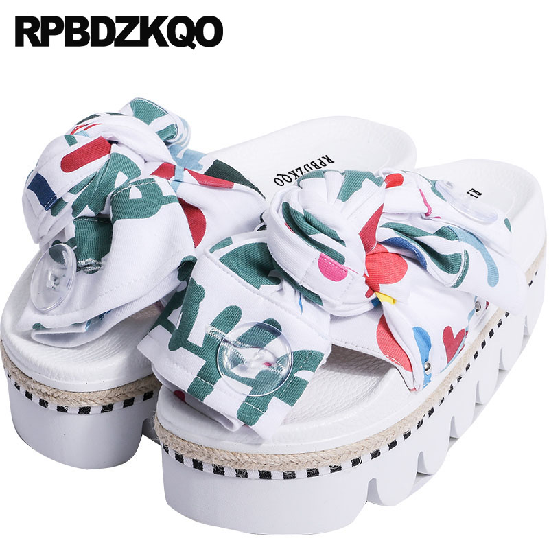 Slip On Slides Flatform Flat High Heels Harajuku Slippers Platform Bowtie Sandals Bow Rope Cute Designer Shoes Women Luxury 2017