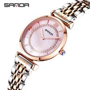 Image 5 - Sanda đồng hồ phụ nữ không thấm nước hoa hồng vàng thép với kim cương mẹ của ngọc trai quay số đầy sao thạch anh người phụ nữ đồng hồ đeo tay relogio feminino