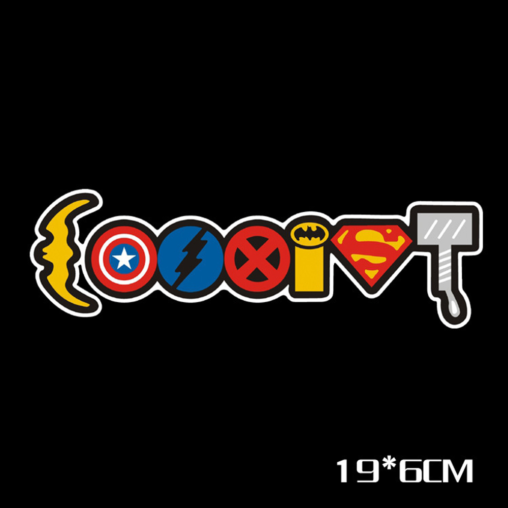 Aliauto Car-Styling Avengers Iron Man Superman Heavy Iocomotive S.H.I.E.L.D Sign Reflective Car Sticker Funny Decal For Ford