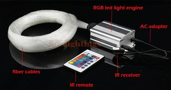 For DIY home decoration optic fiber light kit led light source+ps end glow fibres RGB color change star wireless IR remote