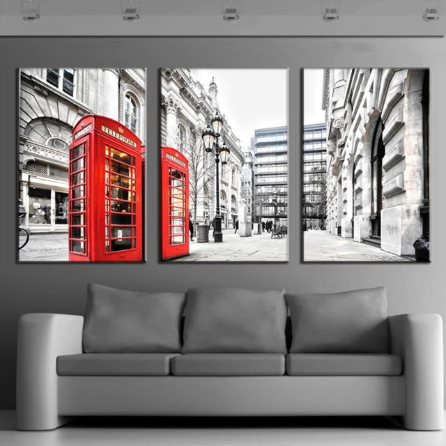 3 Pcs/Set Modern Wall Paintings Canvas Prints London Red Telephone Box  Canvas Picture Wall