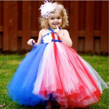 Girl Patriot Party Dress Red White Blue 4th of July Girls Toddler Dress Baby Infant Newborn Tutu For Photo props Size 2T-10Y(China)