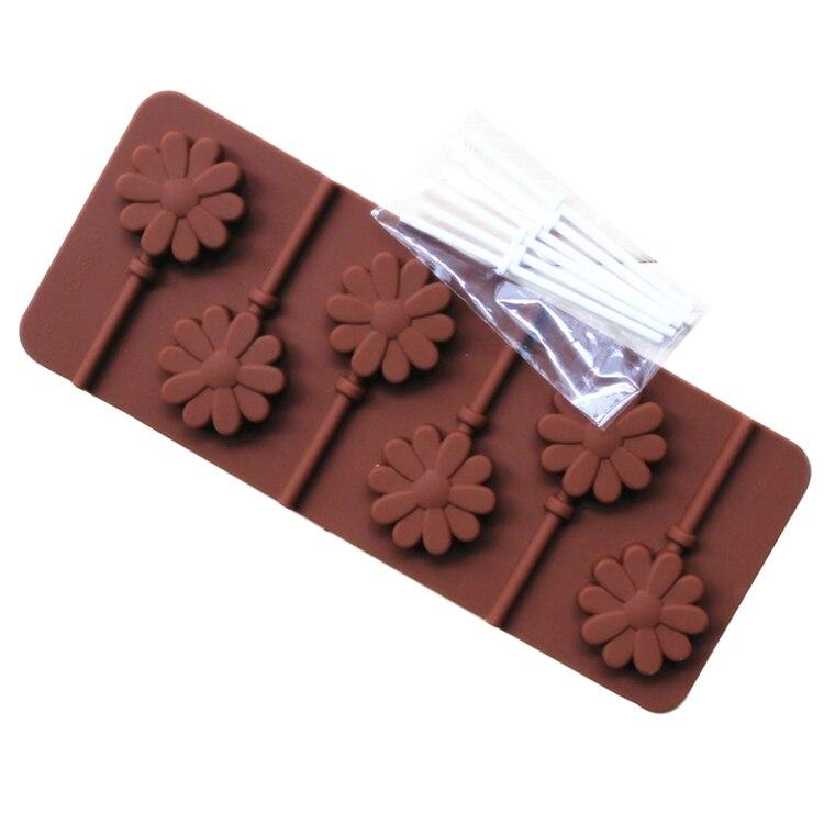 Lollipop формы силиконовые формы 6 решеток DIY шоколадный десерт формы с пластиковый стержень звезда цветок различных Форма для выбора