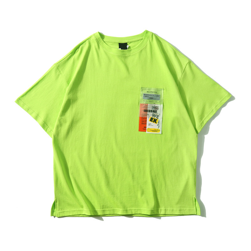 Dark Icon Side Split Fluorescent Green T-shirt with Messenger Bag Hiphop Tshirt Men Cotton Tee Shirts Streetwear Clothing 32