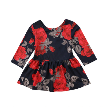 Newborn Clothes Fashion Baby Girl Floral Long Sleeve Party Pageant Prom Dress Winter Spring New year black dresses for baby girl